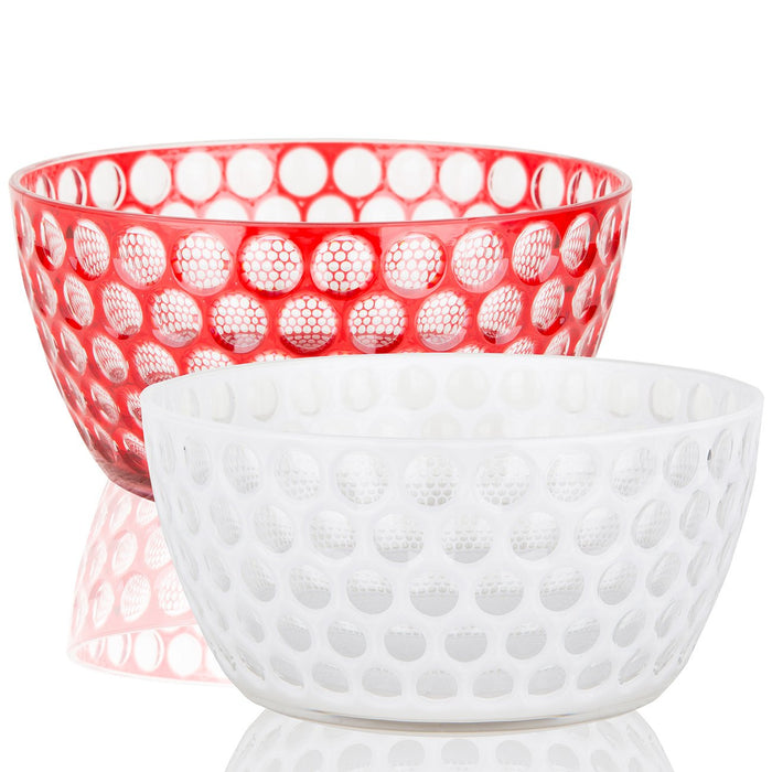 Red Mario Luca Giusti Acrylic Honeycomb Salad Bowl