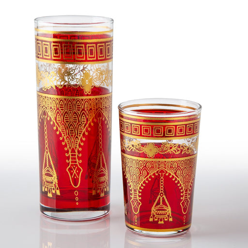 Red Misbah Moroccan Tea Glasses