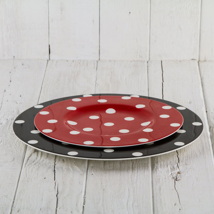 Red Polka Dot Dessert Plate