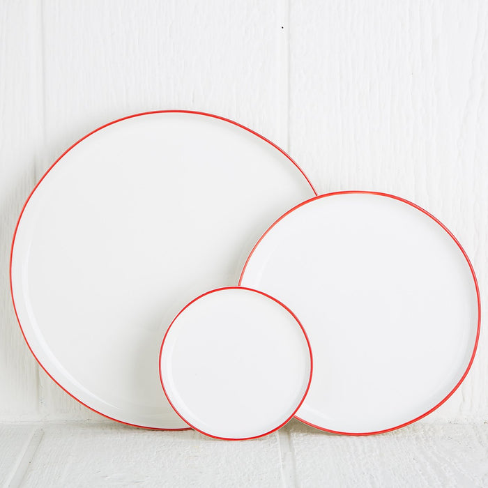 Red Rimmed Small Serving Plate