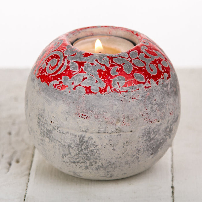 Red Round Concrete Tea Light Candle Holder