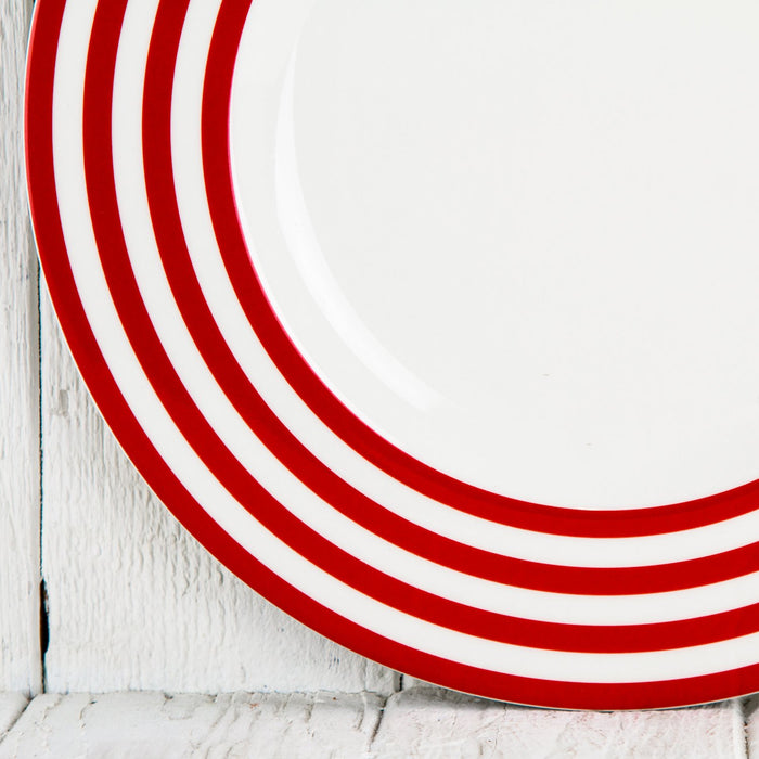 Red Stripe Dessert Plate