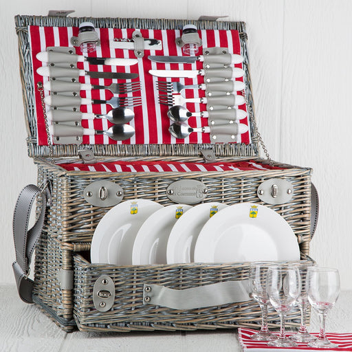 Red Striped Wicker Picnic Basket (4 person)