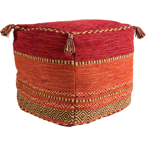 Red Trenza Pouf