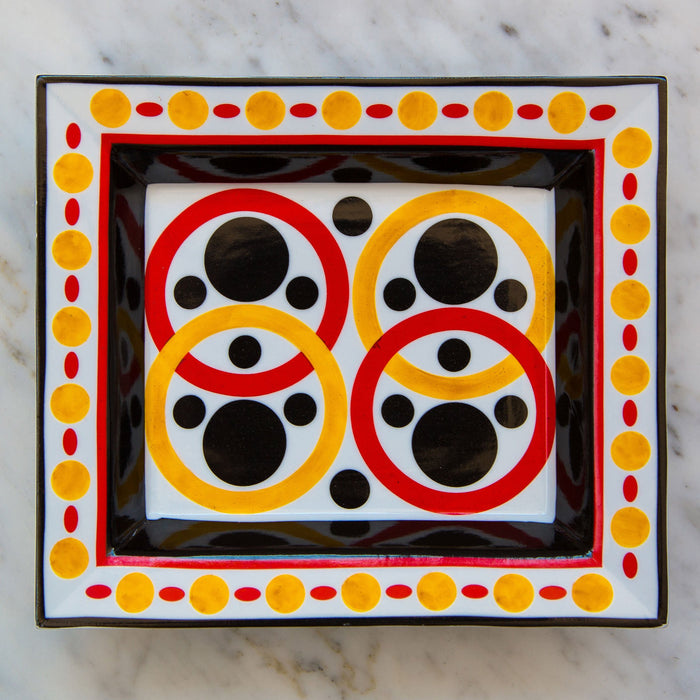 Red, Yellow & Black Four Rings Decorative Tray