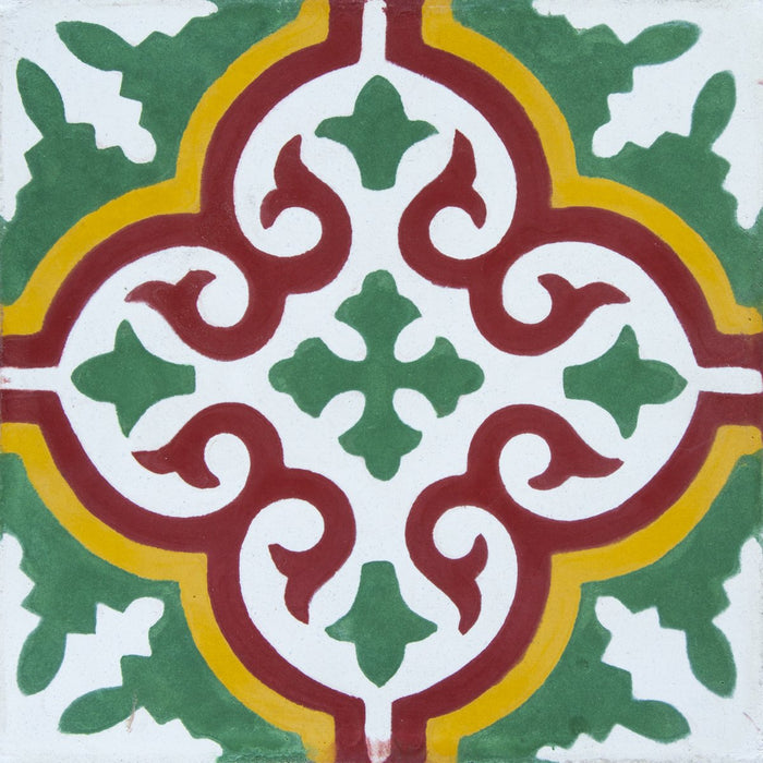 "Red, Yellow & Green Provencale Carocim Tile (8"" x 8"") (pack of 12)"