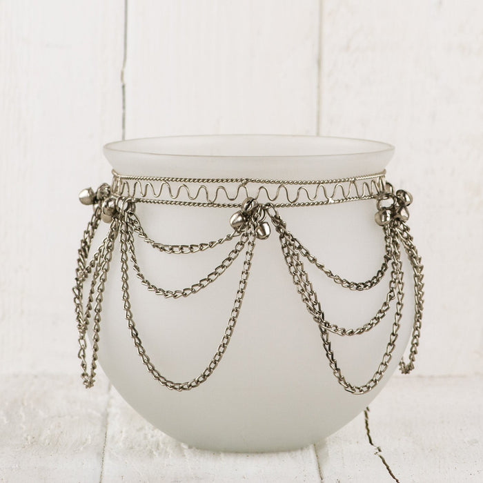 Round Frosted Silver Bells Votive (Medium)