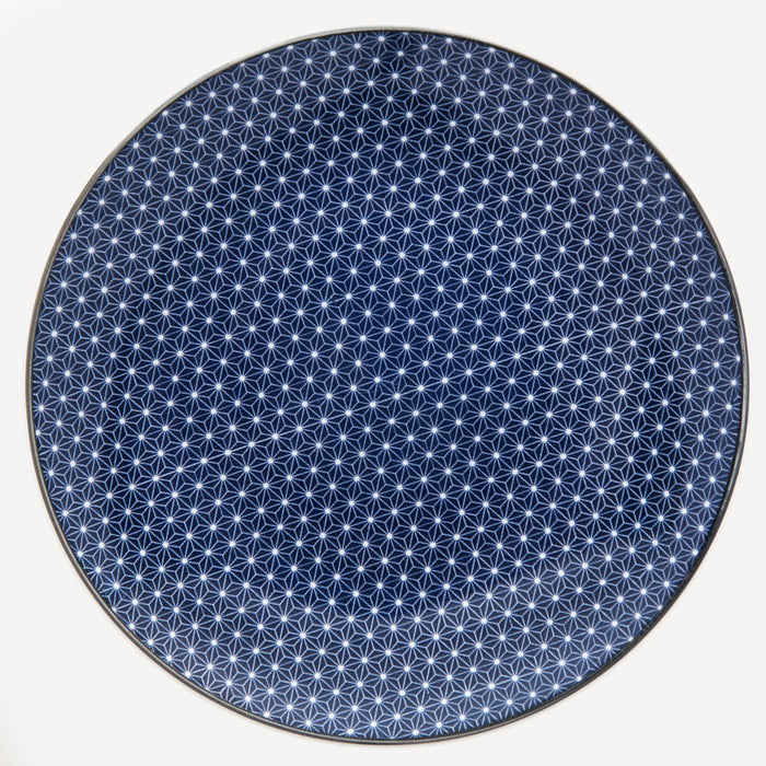 Royal Blue Geometric Dessert Plate