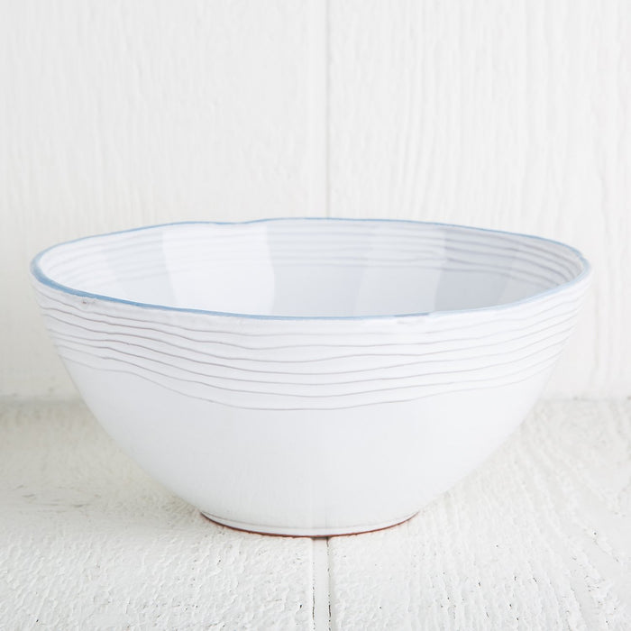 Rustic Blue Rimmed Ceramic Serving Bowl