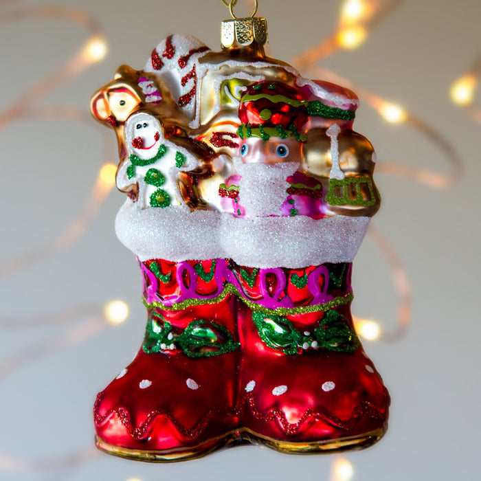 "Santa Boots Shimmering Glass Ornament (4.5""h)"