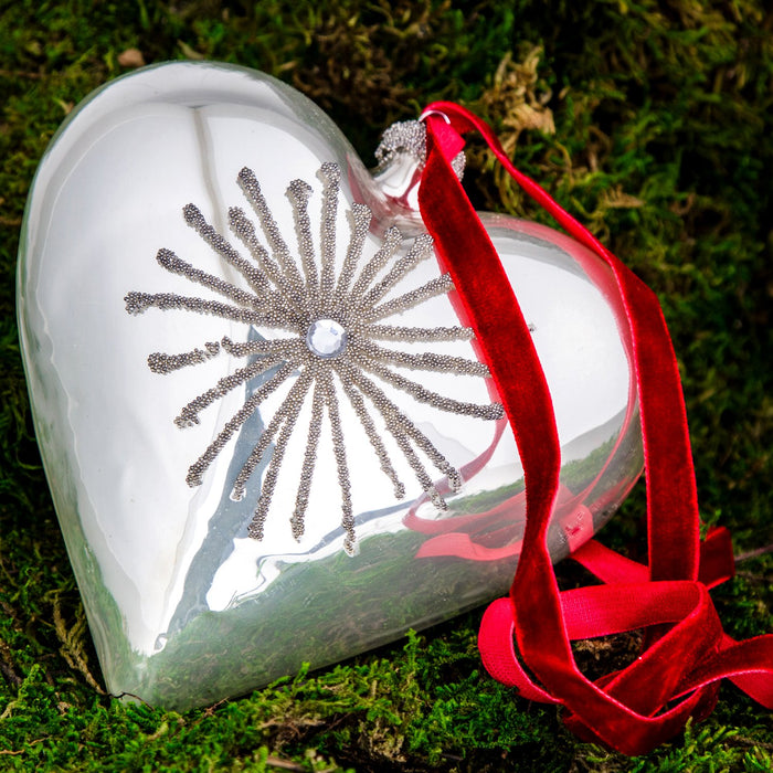 Shimmering Heart Glass Ornament