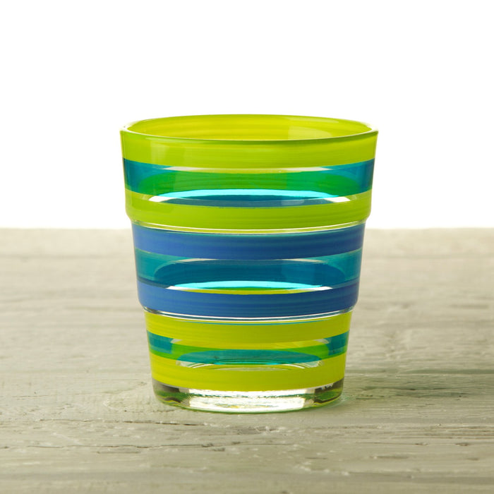 Short Azzurro Striped Drinking Glass