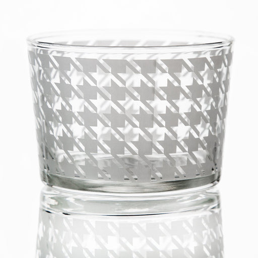 Short White Houndstooth Pattern Glass Tumbler