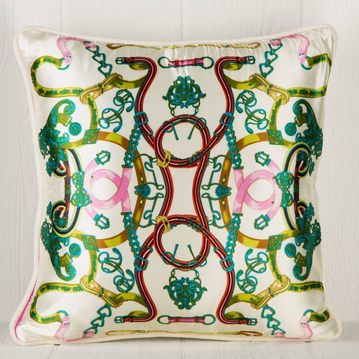 Silk Blend Scarf Pillow - Saddle