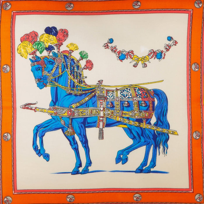 Silk Scarf Pillow - Royal Stallions (Blue)