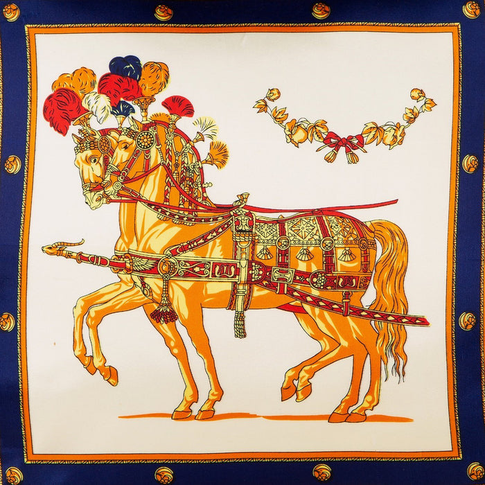 Silk Scarf Pillow - Royal Stallions (Yellow)