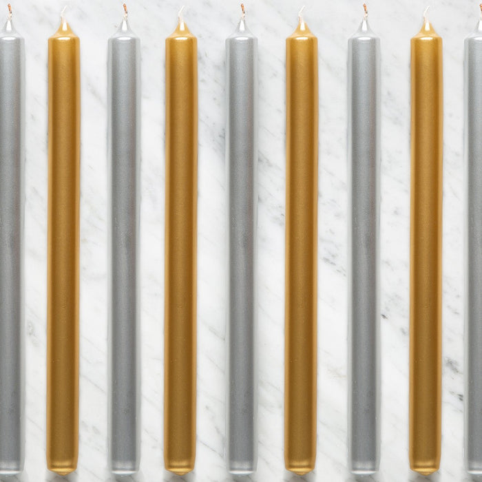 "Silver and Gold Taper Candles (11"")"