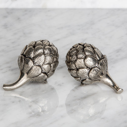 Silver Artichoke Salt and Pepper Shakers