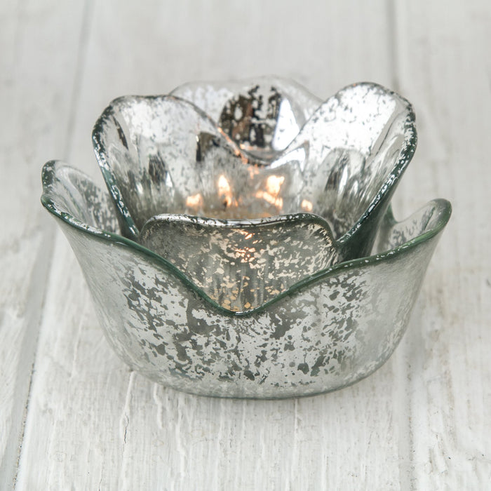 Silver Flower Shaped Votive