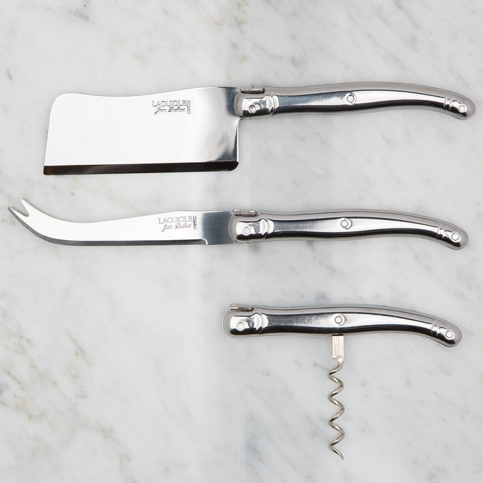 Silver Laguiole 3 Piece Wine and Cheese Set