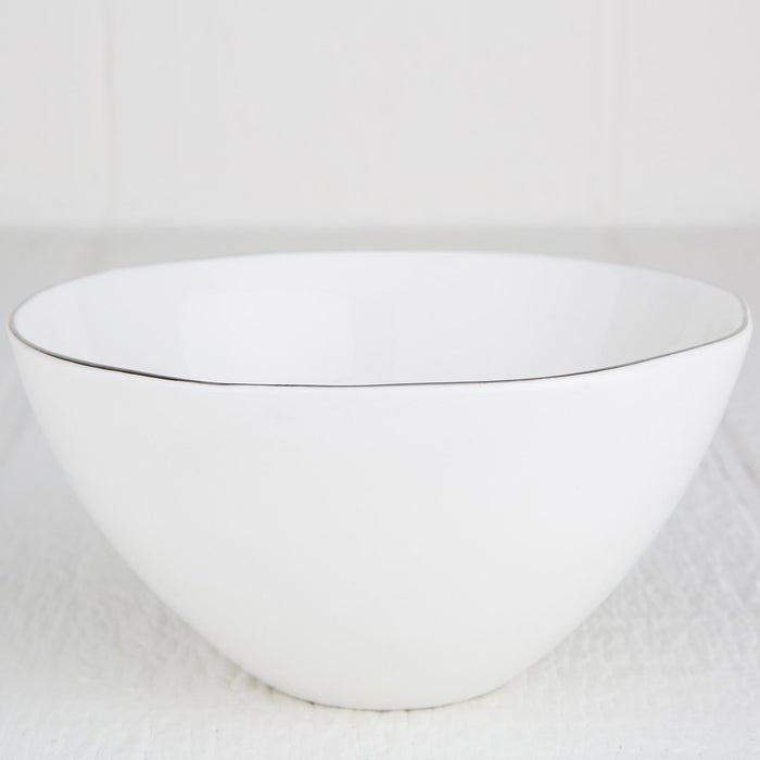 Silver Rimmed Ceramic Serving Bowl