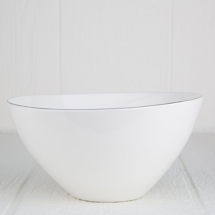 Silver Rimmed Ceramic Soup Bowl