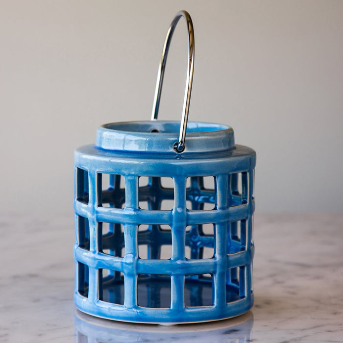 "Sky Blue Crackle Hanging Lantern (5"" h)"