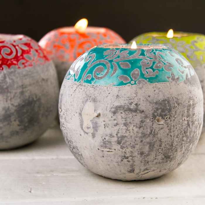 Sky Blue Round Concrete Tea Light Candle Holder