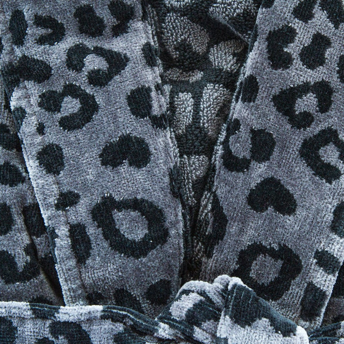 (S/M) Roberto Cavalli Black Leopard Leo Shawl Collar 100% Cotton Bathrobe