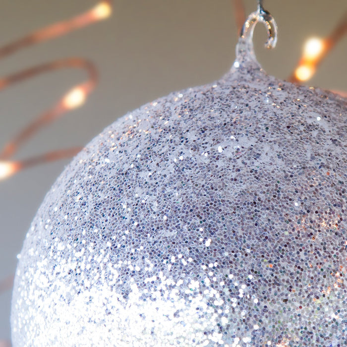 "Small 2 Hook Glitter Ball Ornament (5"")"