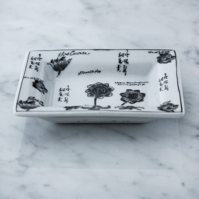 "Small Black & White Floral Decorative Tray (4.25"" w)"