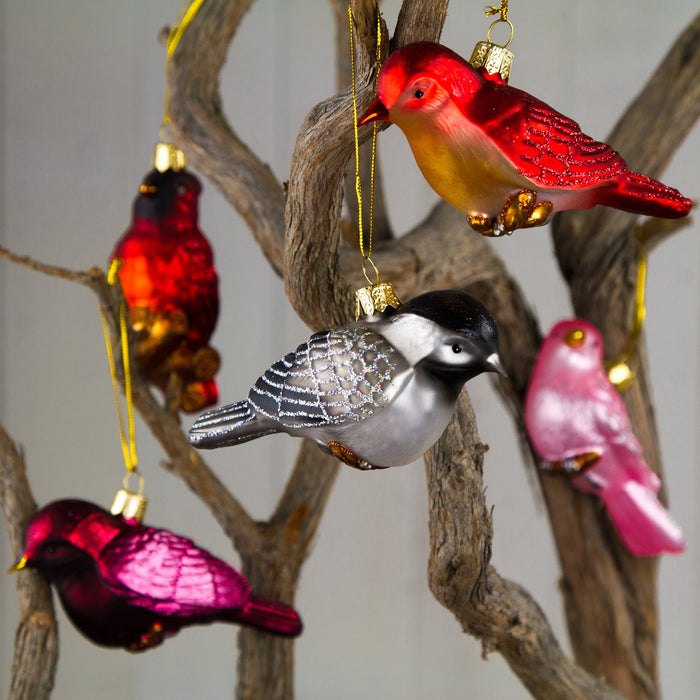 Small Black Bird Glass Ornament