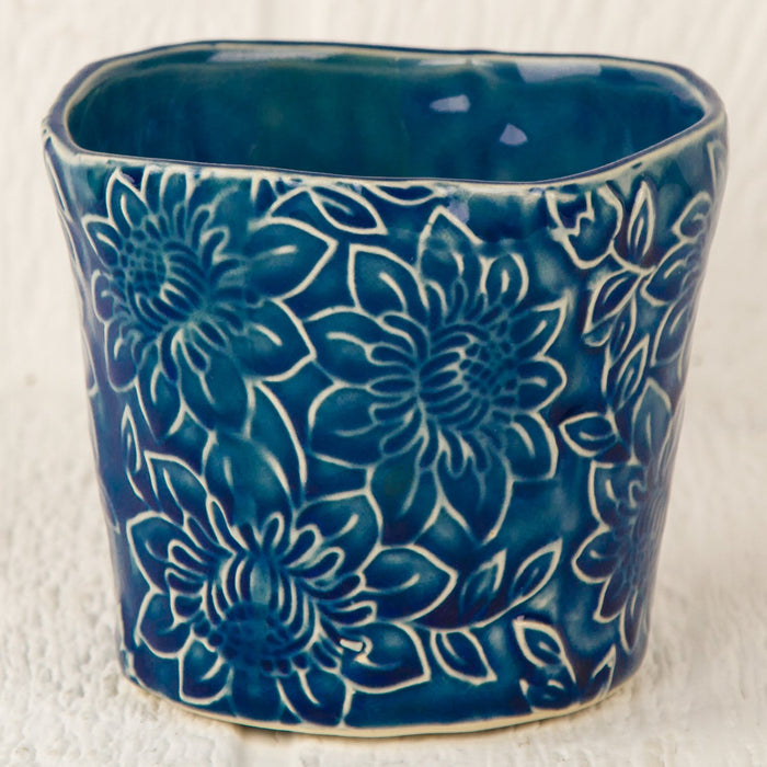 "Small Blue Floral Planter (3.75"" h)"