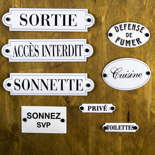 Small Enamel French Plaques