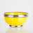 Small Lemon Yellow Ceramic Bowl With Metal Filigree