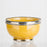 Small Mustard Yellow Ceramic Bowl With Metal Filigree