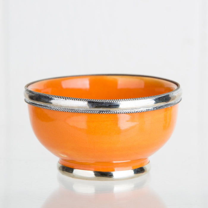 Small Orange Ceramic Bowl With Metal Filigree