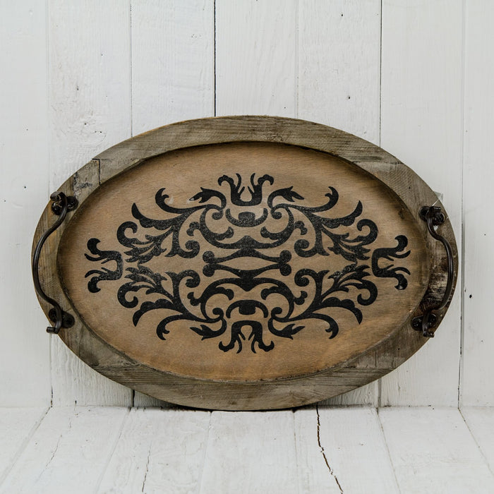 Small Oval Distressed Arabesque Serving Tray