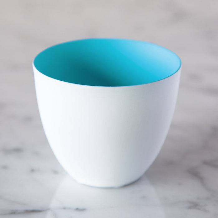 "Small Pastel Blue Biscuit Porcelain Tealight Holder (2.5"" h)"