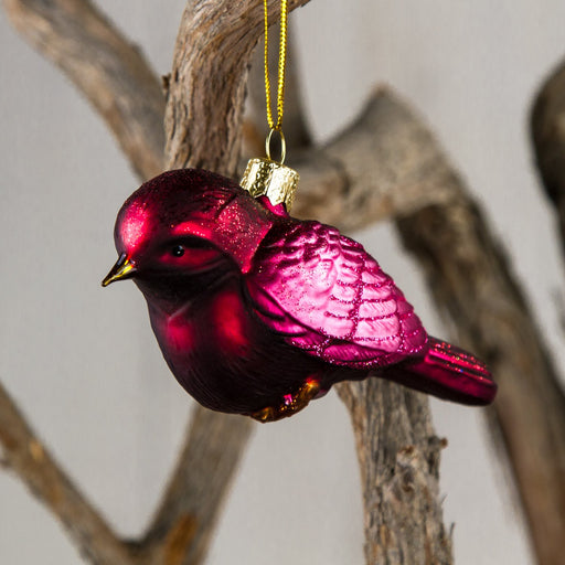 Small Pink Bird Glass Ornament