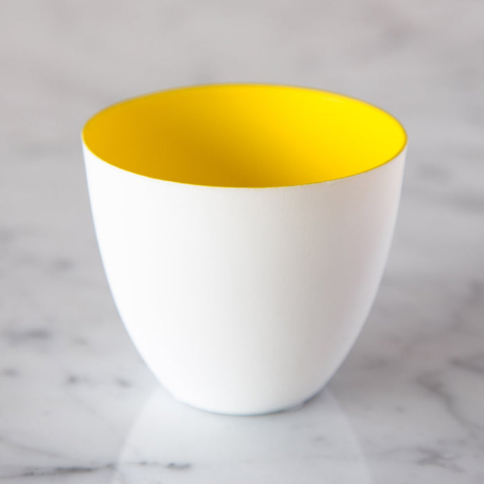 "Small Spring Yellow Biscuit Porcelain Tealight Holder (2.5"" h)"