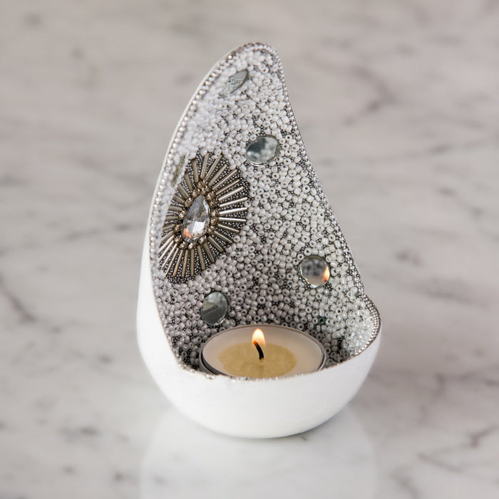 "Small White Hand Beaded Tealight Holder (5.25"" h)"