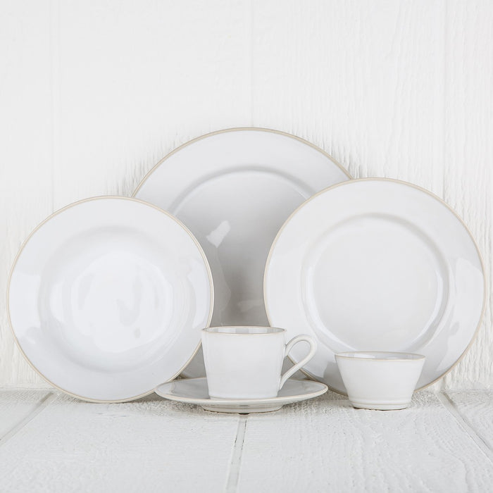 Smooth White and Cream Rimmed Stoneware Dinner Plate