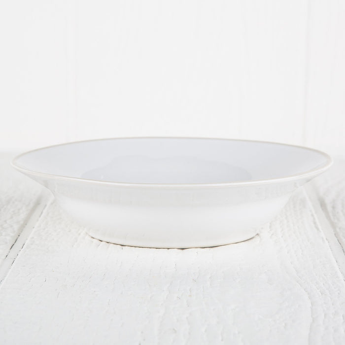 Smooth White and Cream Rimmed Stoneware Soup Bowl