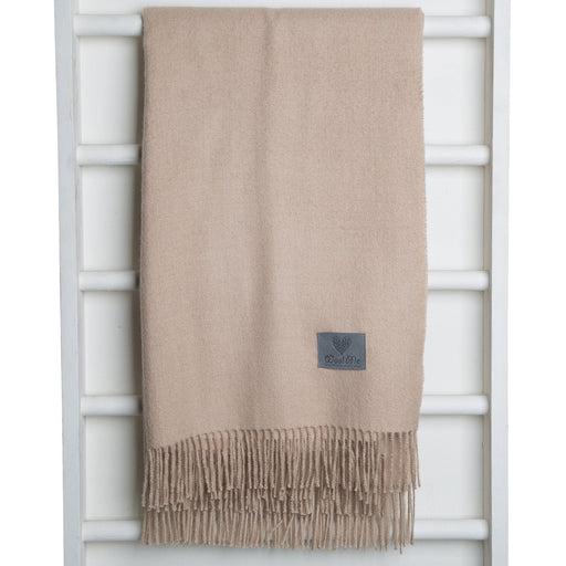Soft Brown Baby Alpaca Wool Throw Blanket