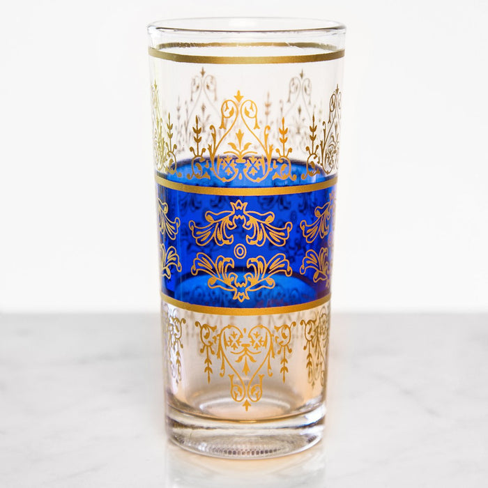Tall Blue & Gold Filigree Moroccan Tea Glass
