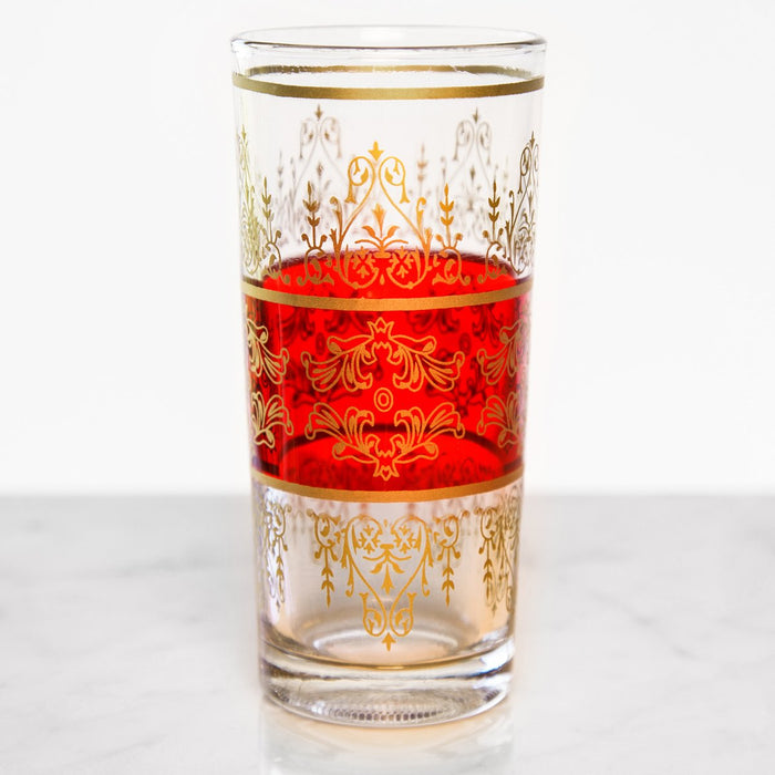 Tall Red & Gold Filigree Moroccan Tea Glass