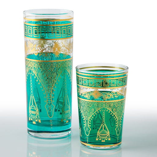 Teal Misbah Moroccan Tea Glasses