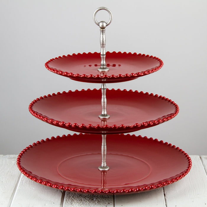 Three Tiered Stoneware Serving Stand