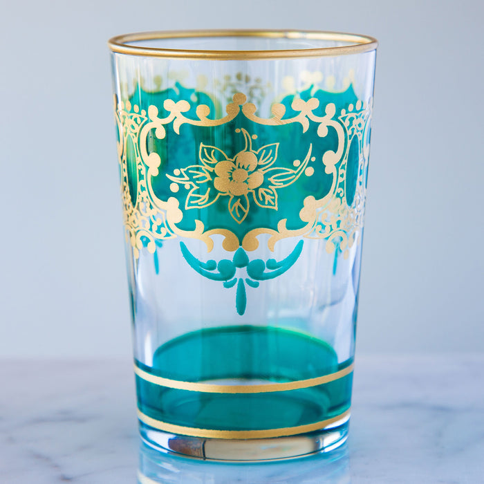 Turquoise and Gold Ornate Moroccan Tea Glass